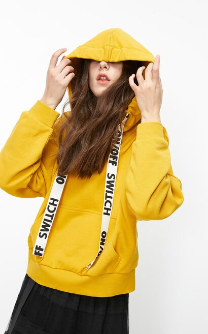 ONLY2019New Women's Autumn & Winter Loose Fit Fake Two-piece Letter Print Hoodie|11949S529, Yellow, large