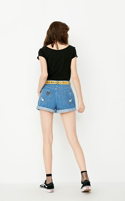 ONLY summer new style cotton high waist ripped denim shorts women | 117343509, Blue, large