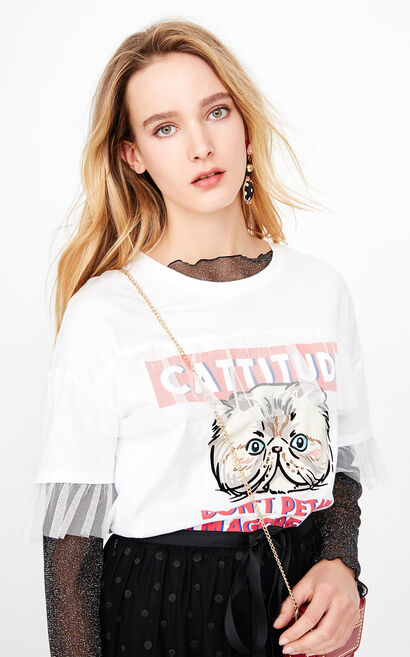 ONLY summer New Women's Gauzy Cat Print Loose Fit T-shirt|118101504, White, large