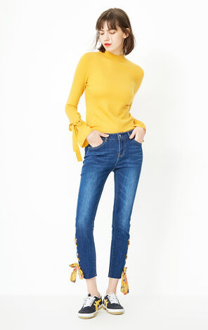 ONLY Women's 2019 Winter Lace-up Crop Jeans |118149656
