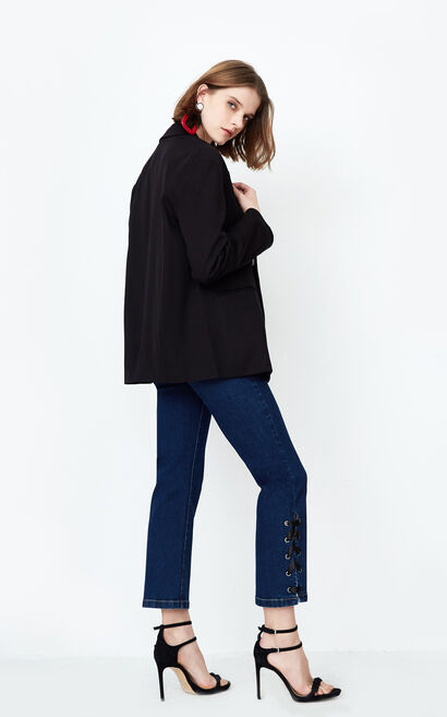 ONLY Women's 2019 Spring Double-breasted Pure Color Loose Fit Suit |118108525, Black, large