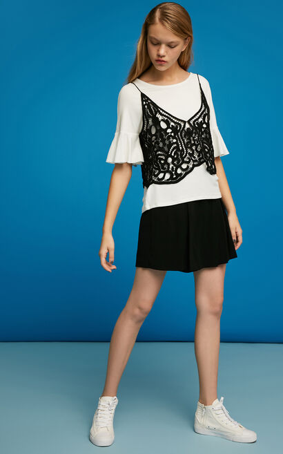 ONLY summer New Women's Two-piece Lace Straps Ruffled Sleeves T-shirt|117230527, White, large