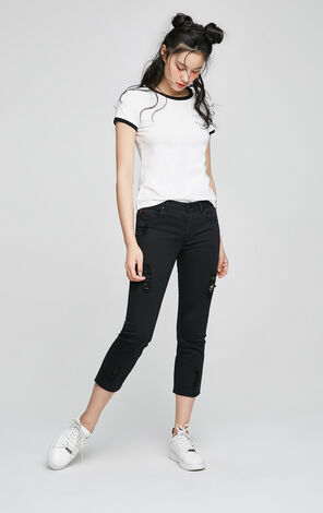 ONLY Spring New Women's Straight Fit Ripped Crop Pants|117150509