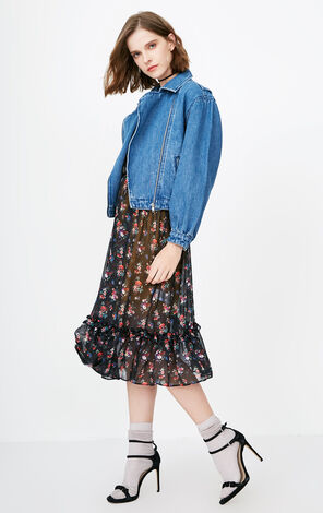 ONLY spring and summer new pure cotton loose fake two-piece denim jacket women | 118154527