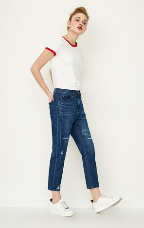 ONLY Women's Spring Letter Print Rips Crop Jeans |117149565
