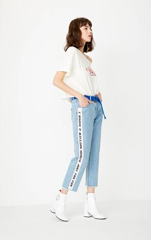 2019 ONLY women's summer tie-up design printed loose T-shirt | 117301514