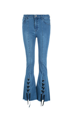 ONLY Autumn new bandage nine points micro-flare jeans women | 117349536
