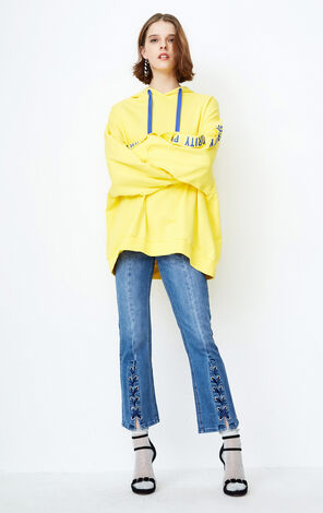 ONLY Women's Winter Loose Fit Medium Length Pullover Hoodie |11819S554
