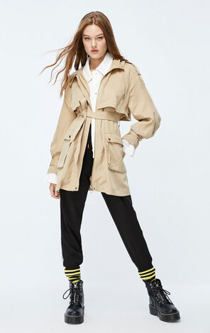 ONLY 2019 AutumnWomen's Thin Hooded Trench Coat|119336566