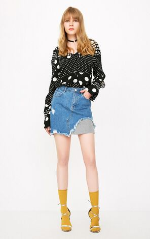 ONLY 2019 Spring Raw-edge Striped Splice Denim Skirt |118137534