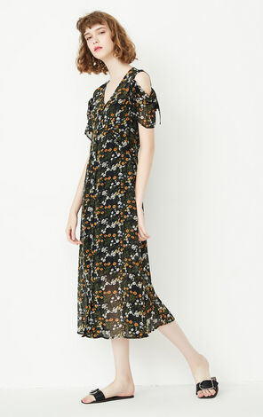 ONLY Women's Autumn New Two-piece Off-the-shoulder Floral Dress|117307585