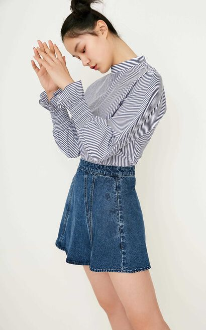 ONLY Women's Spring New Embroidered Letters A-line Denim Skirt|117237504, Blue Gray, large