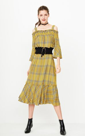 ONLY Summer new word shoulder detachable shoulder strap waist seal plaid dress long skirt female | 118307531