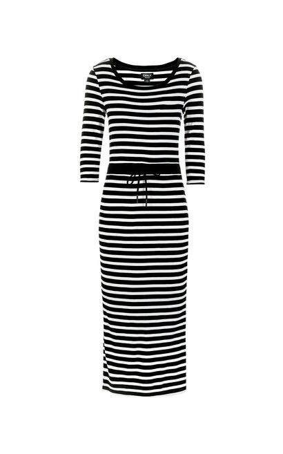 ONLY 2019 Spring Striped Round Neckline Lace-up Cinched Waist Dress |117161511, Black, large