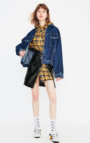 ONLY New Women's Loose Fit Frayed Denim Jacket