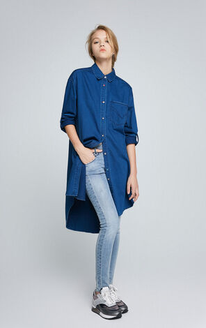 ONLY Women's Winter 100% Cotton Loose Fit Denim Shirt|117162502