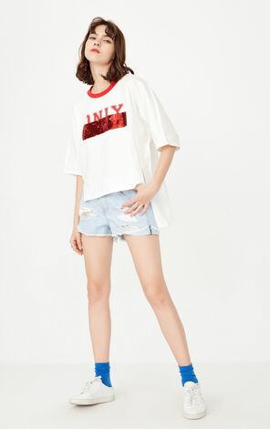 ONLY Women's Spring Low-high Paillette Print Loose Fit T-shirt  117230546