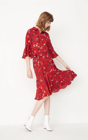 ONLY Women's Summer New Summer Flared Sleeves Ruffled Floral Dress|117307549