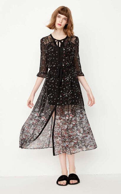 ONLY Summer Floral Lace Chiffon Dress |117307563, Grey, large