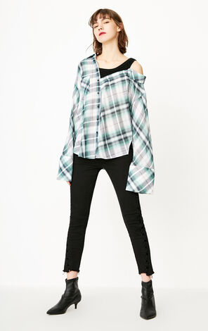 ONLY 2019 Women's Checked Flare Sleeves False Two Pieces Shirt |118151510