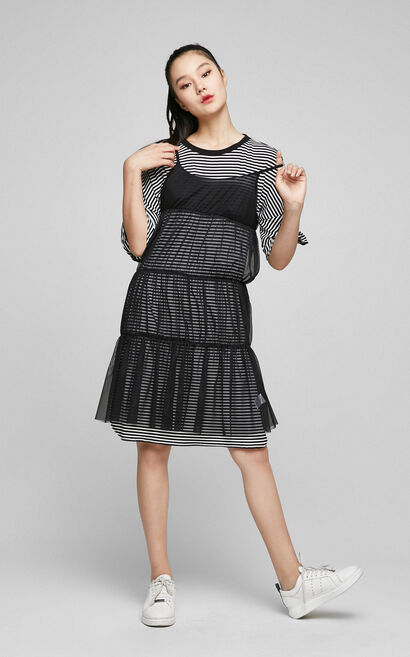 ONLY Spring Round Neckline Ruffled Sleeves Two-piece Dress|117161513, Black, large