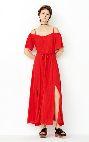 ONLY Summer Single-breasted Cinched Waist Slip Dress |117307594
