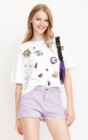 ONLY New Loose Fit Smiling Face Cartoon Print T-shirt