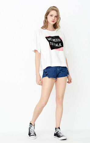 ONLY Summer New Women's Cross-over Trims Raw-edge Denim Shorts|117243531