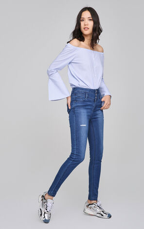 ONLY Women's Spring High-rise Ripped Slim Fit Tight-leg Jeans |117232508