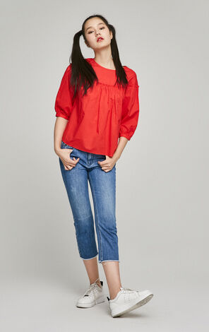 ONLY Women's Summer Folds Puff Sleeves Loose Fit Shirt  117158503