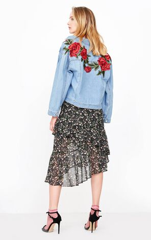 ONLY2019 women's summer new flower embroidery loose denim jacket | 118154512