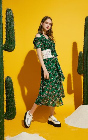ONLY Summer Floral Lace-up Two-piece Dress |117307537