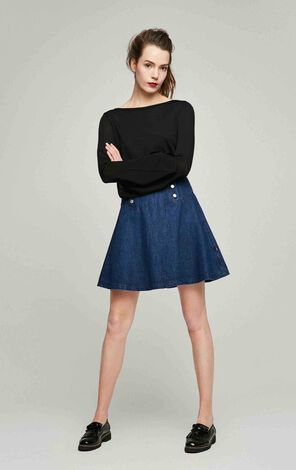 ONLY Women's Autumn High-rise A-lined Denim Skirt|117237501
