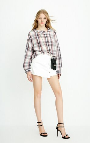 ONLY Summer New Women's Loose Fit Asymmetrical Turn-down Collar Striped Shirt