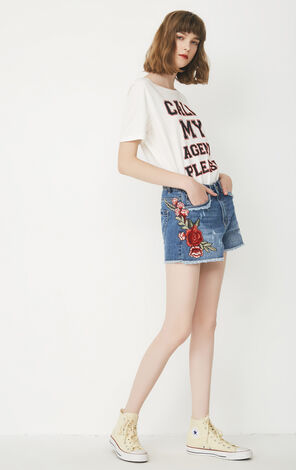 2019 ONLY women's summer new embroidery loose raw hem denim shorts | 117343527