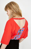 ONLY Women's Summer Reversible Letter Print Loose Fit T-shirt |118101535, Red, large