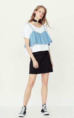 ONLY summer New Single-breasted Pockets Skirt|117216513
