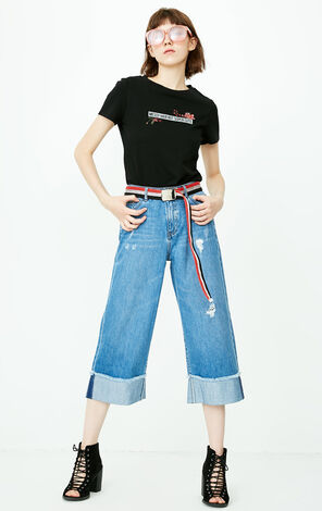 ONLY Women's Spring & Summer Low-rise Ripped Roll-up Wide-leg Capri Jeans |11836I519