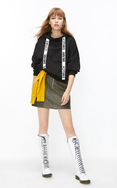 ONLY2019New Women's Autumn & Winter Loose Fit Fake Two-piece Letter Print Hoodie|11949S529, Black, large