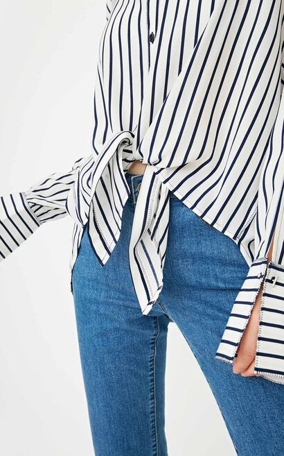 ONLY summer new style lace-up front short and back long loose shirt women | 117331538, Blue, large