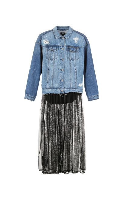 ONLY autumn new style two-piece long-sleeved denim jacket women with raw edges   117354506, Blue, large