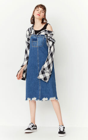 ONLY2019 Spring New Raw-edge Letter Print Denim Overalls Dress|117142504
