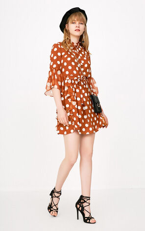 ONLY Flare Sleeves Polka Dot Dress|118107688