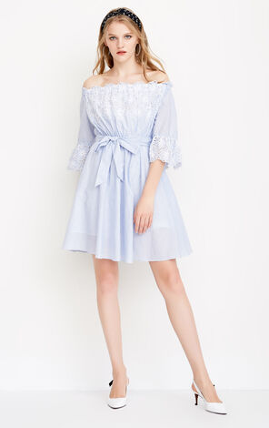 ONLY Lace-up Cinched Waist Off-the-shoulder Dress|118207551