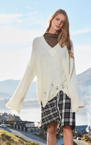 ONLY winter new style European and American V-neck ripped sweater loose women | 117313503