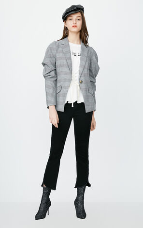 ONLY Women's Spring Slim Fit Creased Houndstooth Blazer |118108538