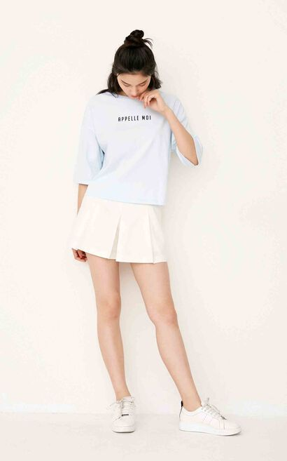 ONLY summer New Women's Loose Fit Letter Print T-shirt|117230512, Blue, large