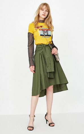 Only 100% Cotton Irregular Lace-up Skirt |118116541