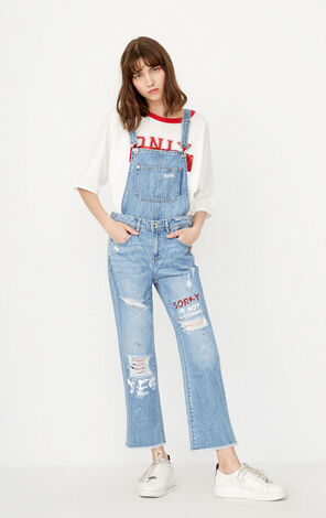 ONLY Spring New Women's Frayed Crop Denim Overalls|11727L503