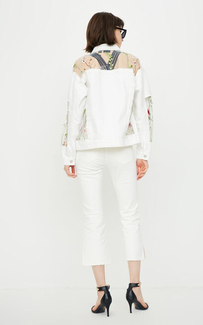 ONLY 2018 Women's Winter Ripped Splice Denim Jacket |118354502, White, large